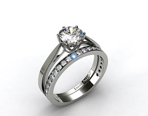 18k White Gold Tapered Six Prong Filigree Basket Solitaire Engagement Ring &amp; 0.17ct Pave Set Wedding Ring